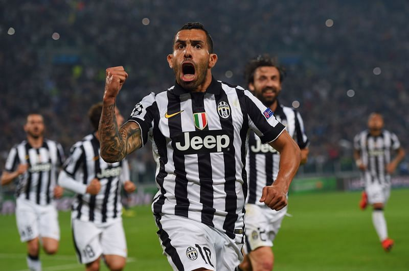 Carlos Tevez celebrates a UEFA Champions League goal for Juventus
