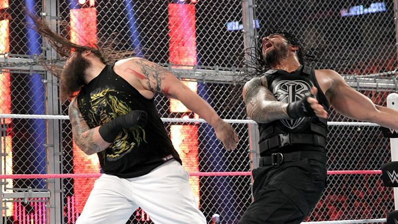 Bray Wyatt and Roman Reigns at Hell in a Cell 2015