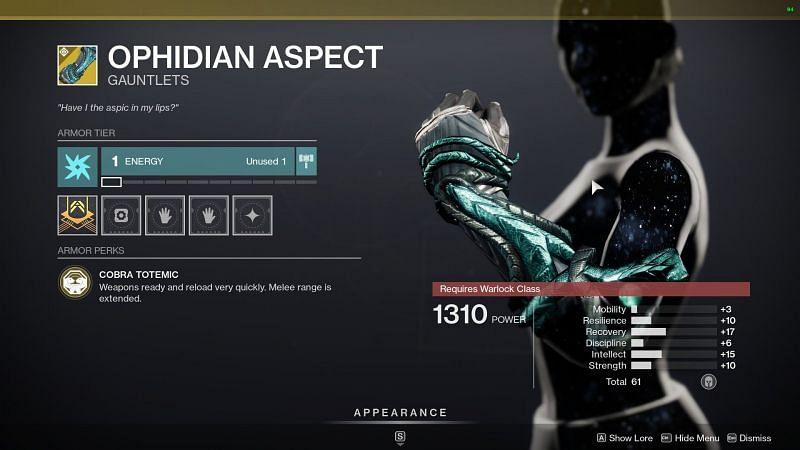 Destiny 2 exotic gauntlet Ophidian Aspect (image source Destiny 2 the game)