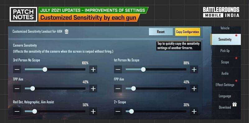 New sensitivity settings (Image via Battlegrounds Mobile India)