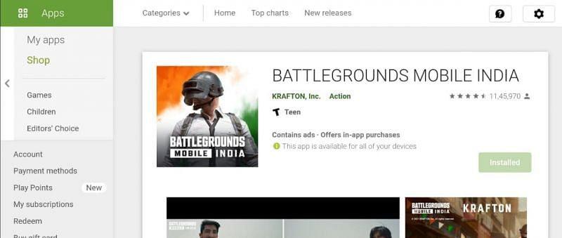 Battlegrounds Mobile India (BGMI) on the Google Play Store