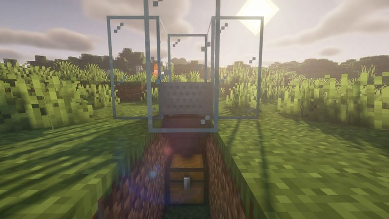 A killing chamber that utilizes the entity cramming game rule (Image via Minecraft)