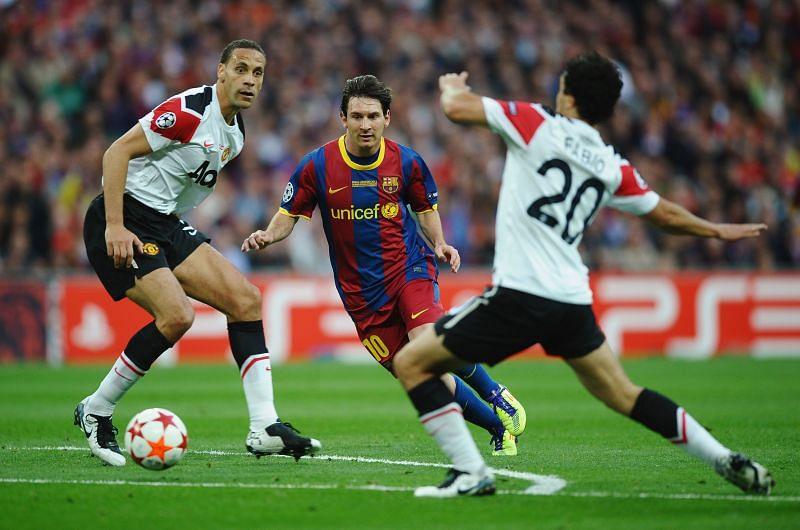 Messi dribbling past United's helpless defenders