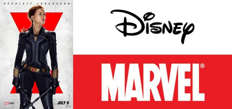 Black Widow Poster. Disney and Marvel logo. (Image via: Marvel Studios, and Walt Disney Co.)