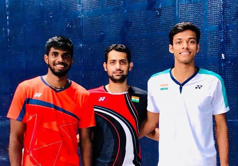 Indian badminton team physiotherapist Sumansh Sivalanka (centre) with Chirag Shetty and Satwik