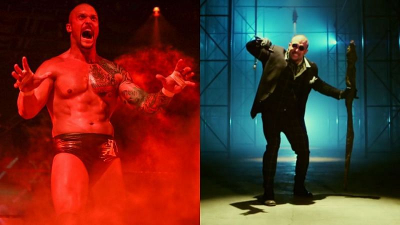 Karrion Kross in NXT (L) and The White Rabbit (R) in Lucha Underground