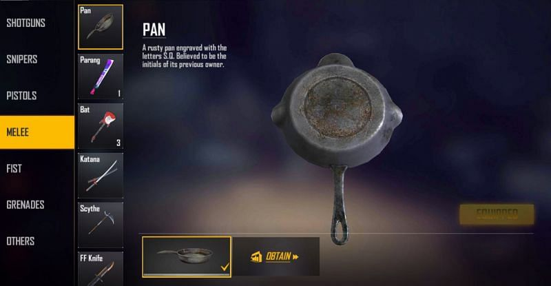 Pan skin can be equipped from the Melee section