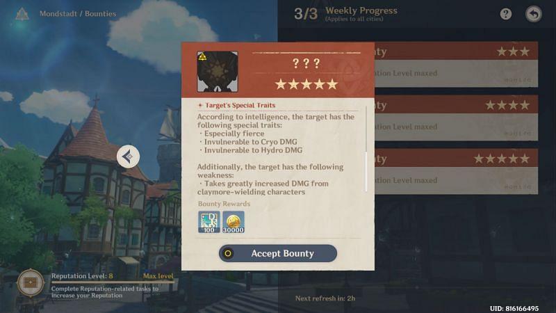 Bounty Description (Image via Genshin Impact)