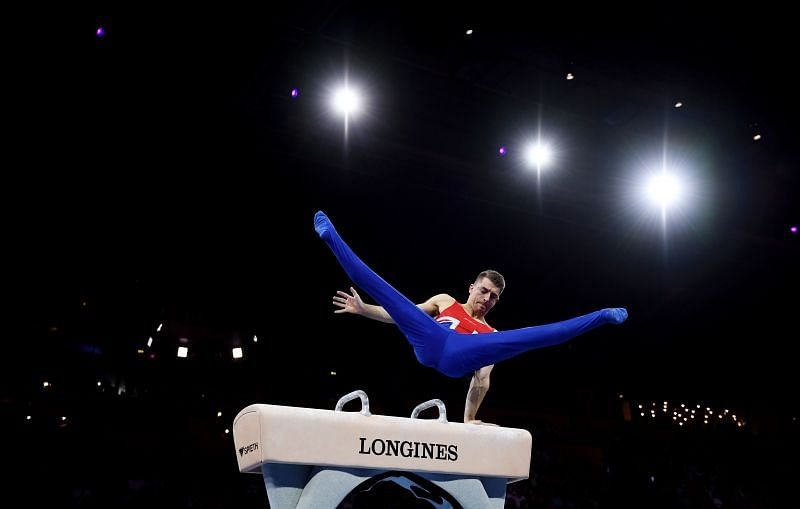 Max Whitlock in action at the Pommell Horse in the 2019 World Artistic Gymnastics Championships (Photo by Laurence Griffiths/Getty Images)