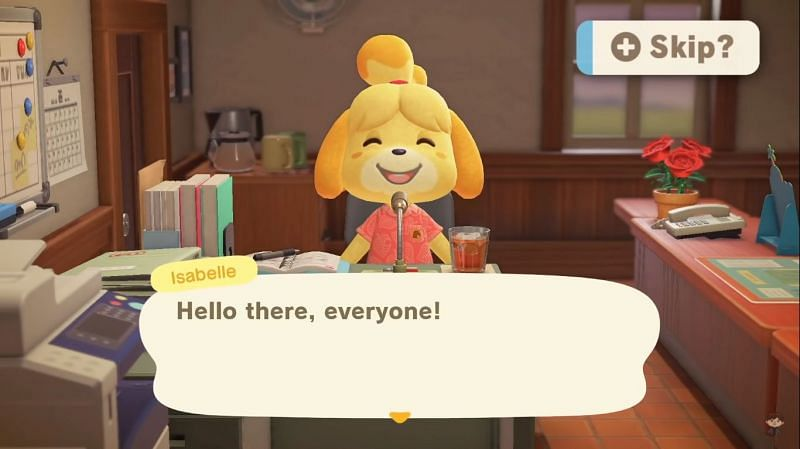 Players want an option to skip Isabelle's long announcements (Image via Crossing channel)