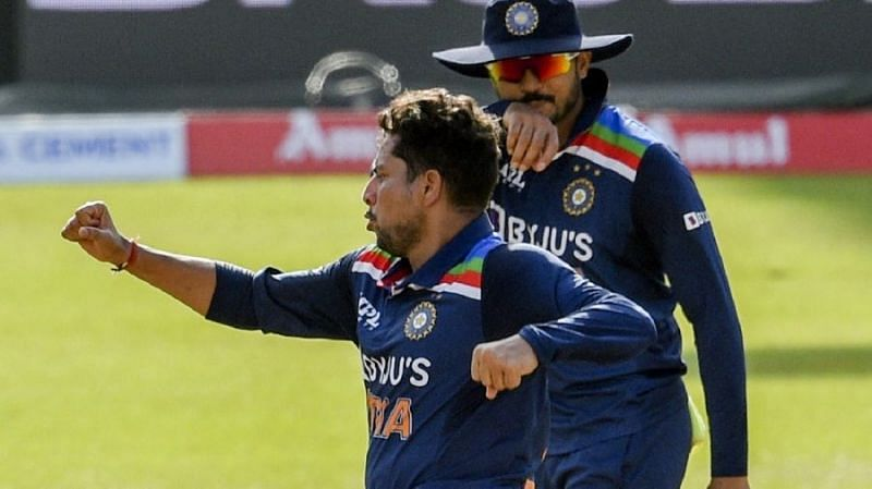 Kuldeep Yadav celebrates a wicket