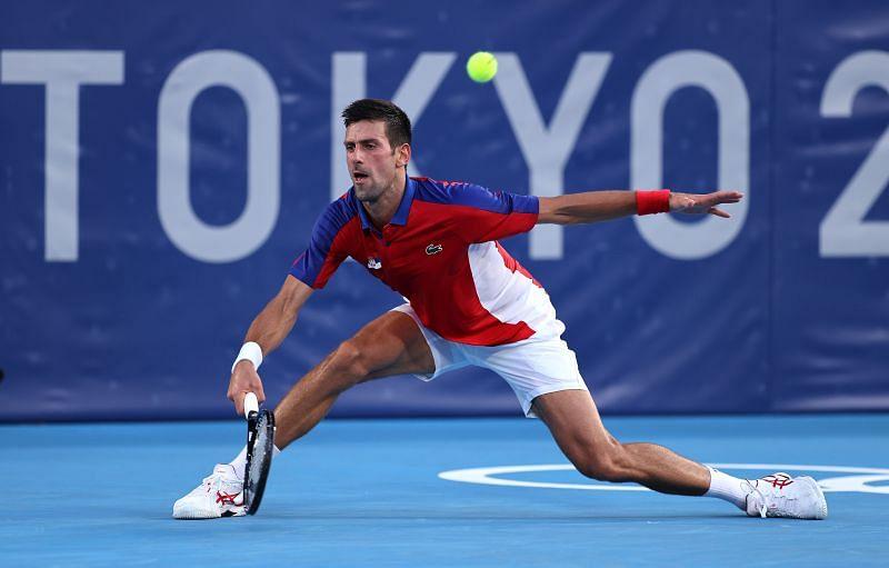 Novak Djokovic during his match against Alejandro Davidovich Fokina