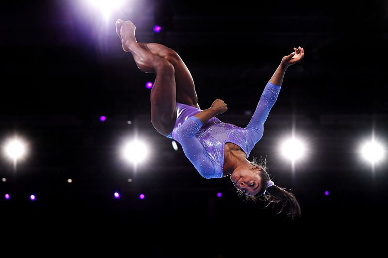 Simone Biles competes in Women's Floor Final during the 2019 World Artistic Gymnastics Championships (Photo by Laurence Griffiths/Getty Images)