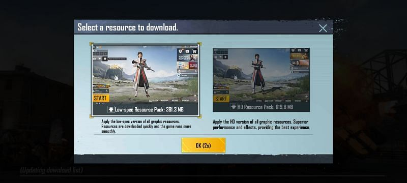 Players are required to select the Resource Pack