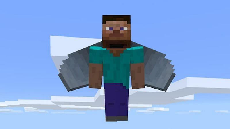 Steve with an elytra! (Image via Minecraft)