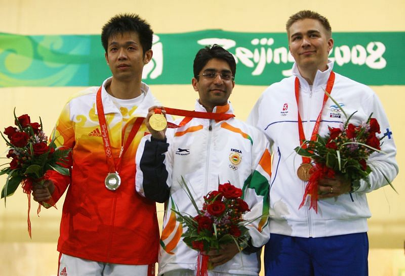 Abhinav Bindra celebrating his gold medal at the Beijing 2008 Olympics.
