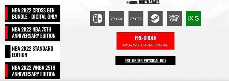 Pre-orders on the official 2K website. Image via NBA 2K