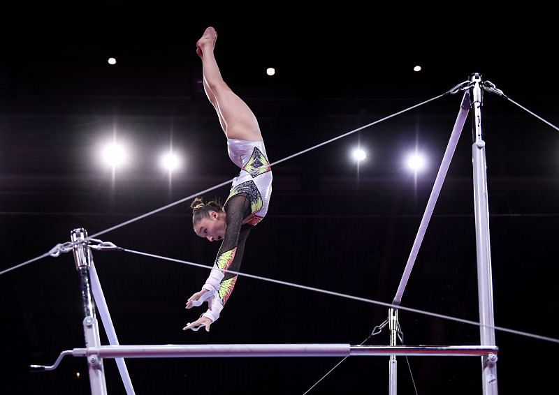 Nina Derwael in action at the Uneven Bars Finals of the 2019 World Artistic Gymnastics Championships (Photo by Laurence Griffiths/Getty Images)