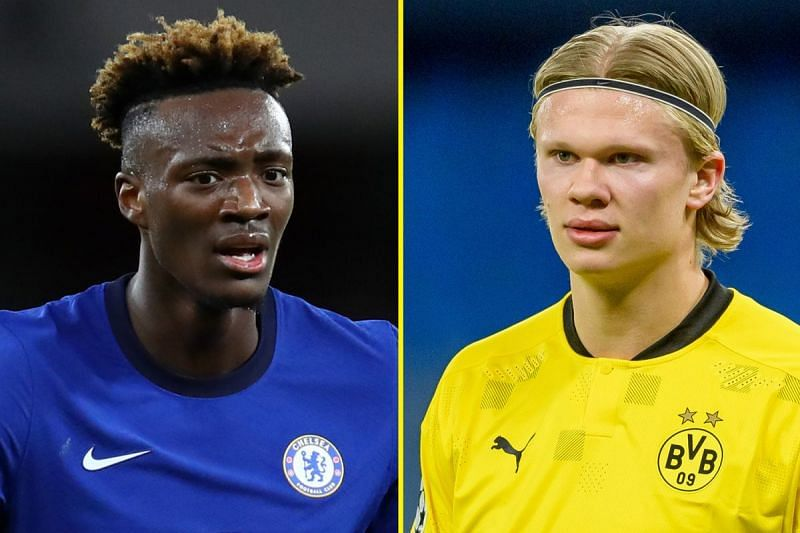 Abraham could be offloaded as a makeweight in a deal for Borussia Dortmund forward Erling Haaland (right).