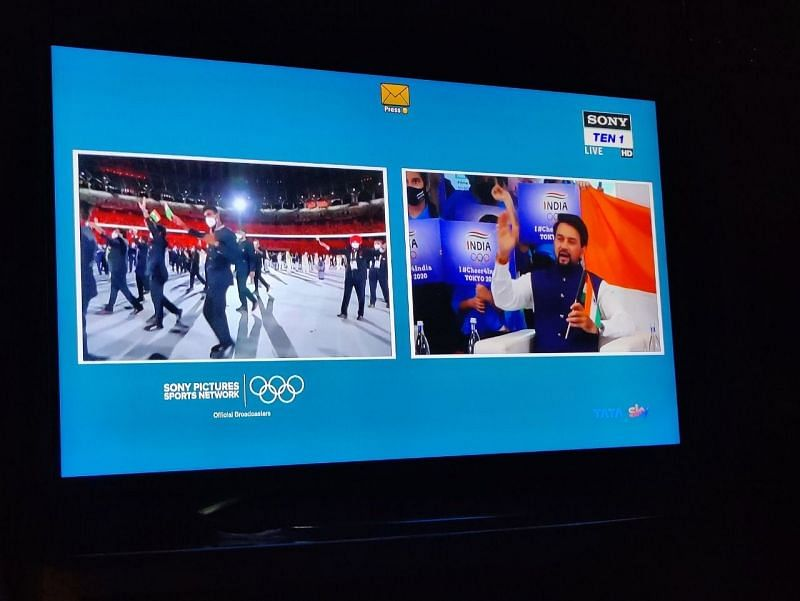 """""""Why take half the screen?"""": Upset fans slam broadcaster for showing Anurag Thakur during India Olympics opening ceremony"""
