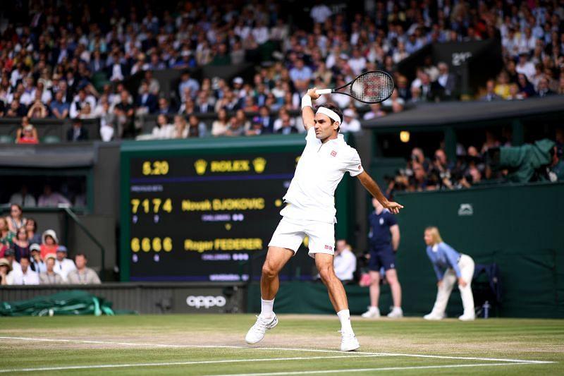 Roger Federer in full flow against Novak Djokovic in the 2019 Wimbledon final