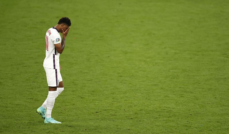 Marcus Rashford after missing his penalty against Italy in the UEFA Euro 2020 Final