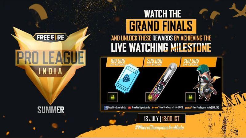 Free Fire Pro League 2021 Summer Grand Finals viewer rewards