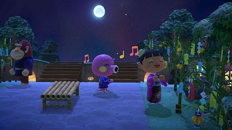 Decorazione del prato in bambù del Tanabata Festival di Animal Crossing: New Horizons (Immagine tramite Twitter di Animal Crossing)