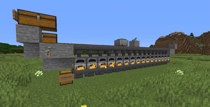 A view of the menacing automatic furnace in Minecraft (Image via ShulkerCraft on YouTube)