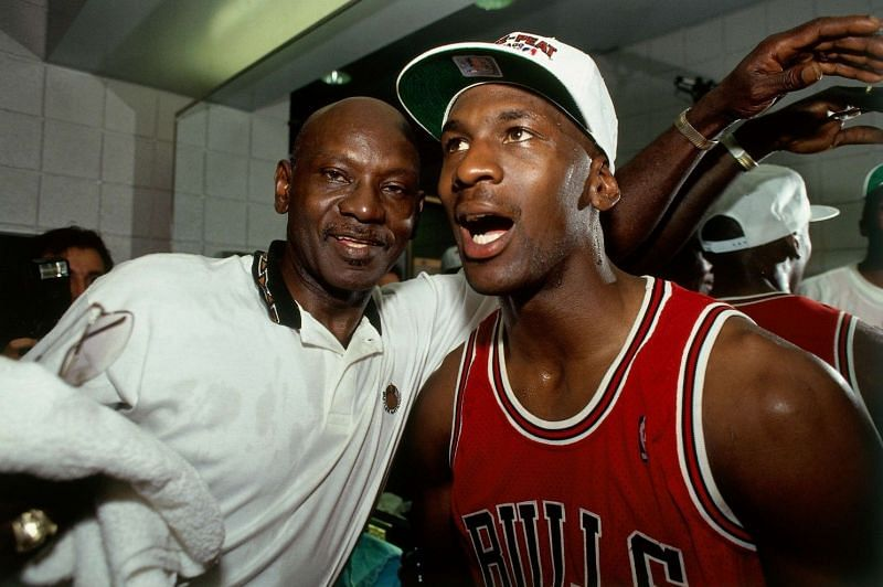 Michael Jordan (right) and his father James [Photo by Andrew D. Bernstein / NBAE via Getty Images].