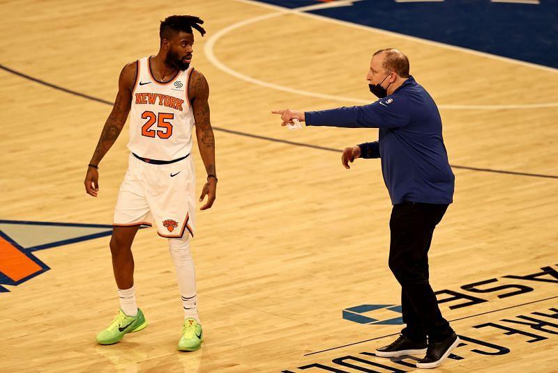 Head coach Tom Thibodeau directs Reggie Bullock #25 during a game