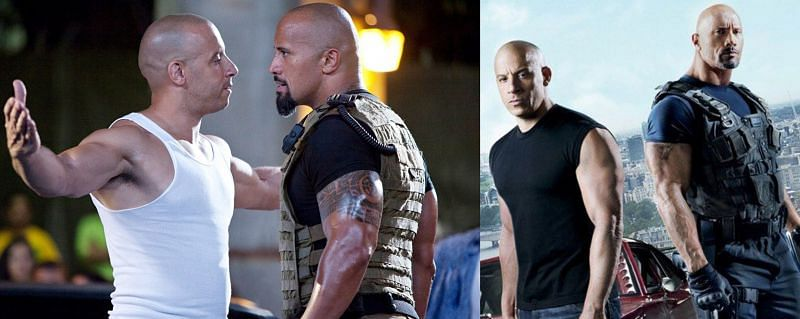 Luke Hobbs (played by Dwayne Johnson) with Dominic Toretto (played by Vin Diesel). (Image via: Universal)
