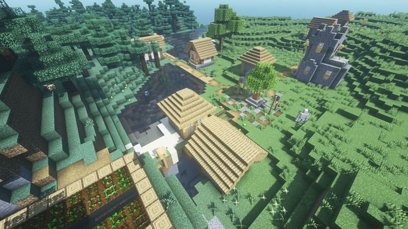 Village with a small opening into a ravine (Image via Minecraft)