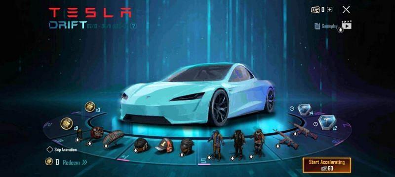 The Tesla Drift event in BGMI (Image via BGMI)