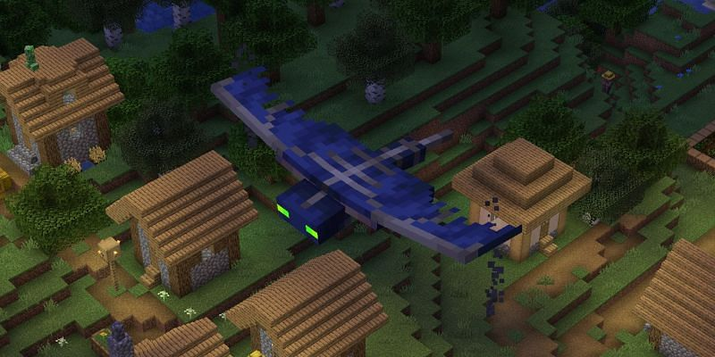 A phantom flying high above a village in Minecraft (Image via lookingforseed)