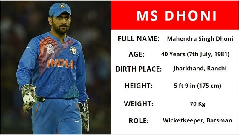 MS Dhoni Age Height Weight Player Card
