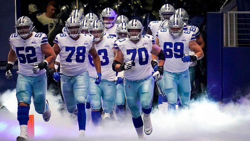 Dallas Cowboys running out of the tunnel before their October 11, 2020 bout against the New York Giants at AT&T stadium