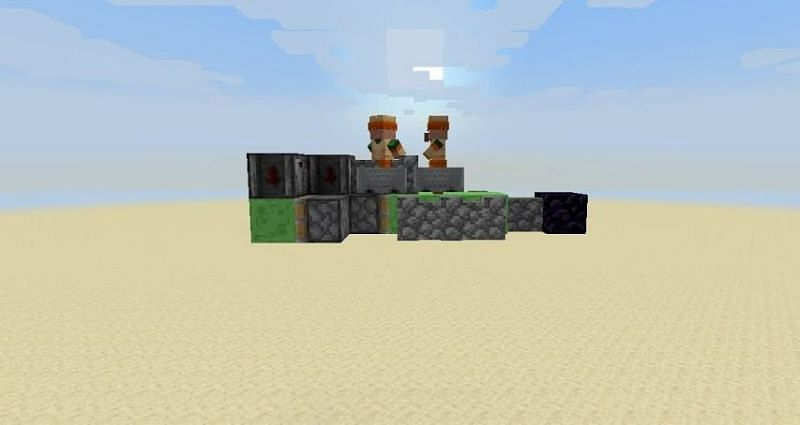 A player transporting villagers via a flying machine (Image via Ayple on YouTube)