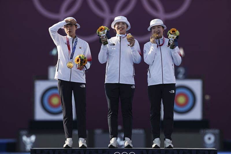 San An, Minhee Jang, and Chaeyoung Kang of Team South Korea pose with their gold medals at Tokyo Olympics 2020