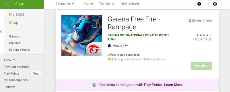 Free Fire in Google Play Store
