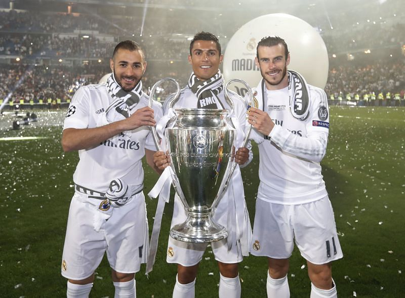 Cristiano Ronaldo (centre) has played alongside some well-known names like Karim Benzema (left) and Gareth Bale (right).