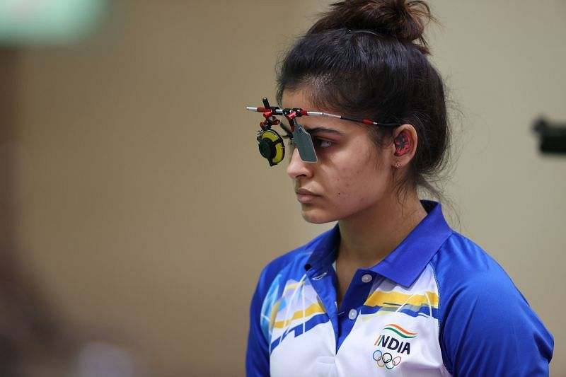 Manu Bhaker of Team India during the 10m Air Pistol Women's event on Day 2 of Tokyo Olympics