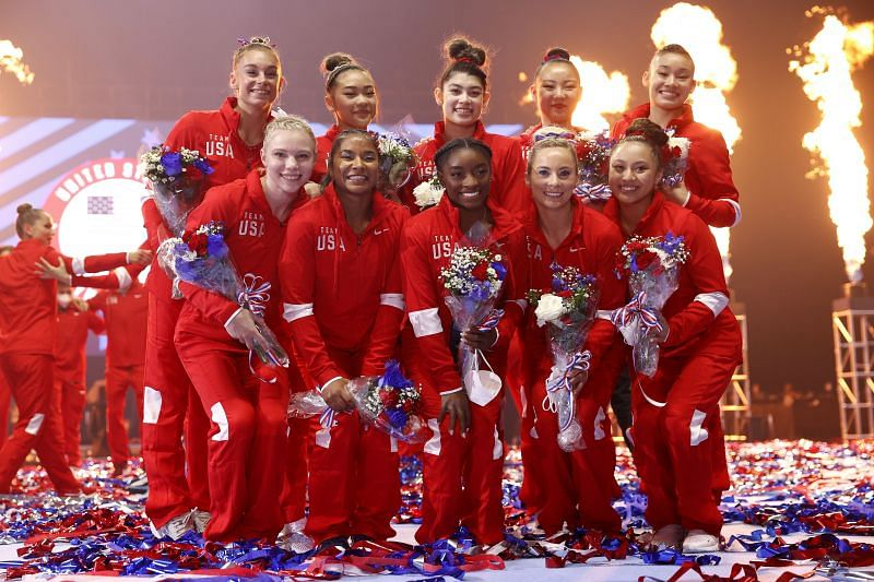 The women representing Team USA pose following the Women's competition of the 2021 US Gymnastics Olympic Trials at America's Center on June 27, 2021 in St Louis, Missouri. (Photo by Jamie Squire/Getty Images)