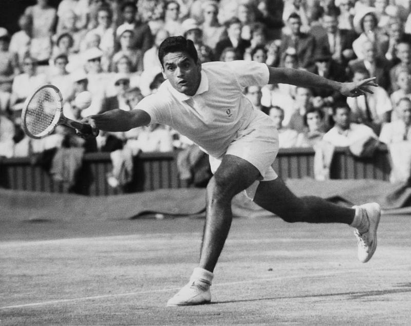 Ramanathan Krishnan at the Wimbledon Lawn Tennis Championships in 1960