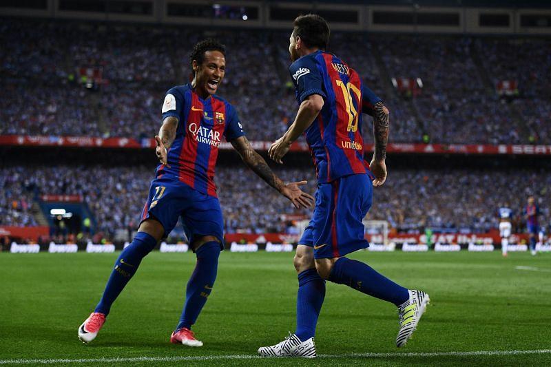 Brazilian superstar Neymar (left) is a big fan of his former Barcelona teammate Lionel Messi