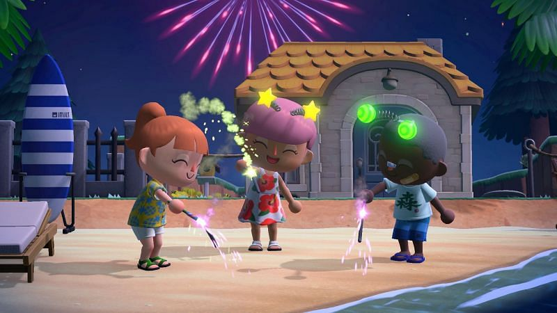 Fireworks in Animal Crossing (Image via Animal Crossing World)