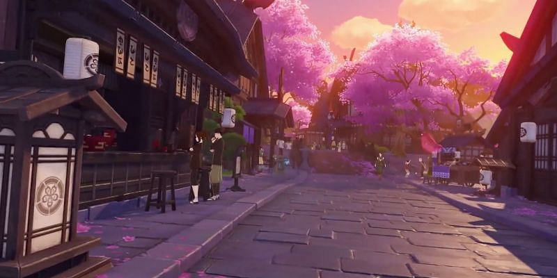 The pink Sakura trees are a big factor of Inazuma's culture (Image via miHoYo)