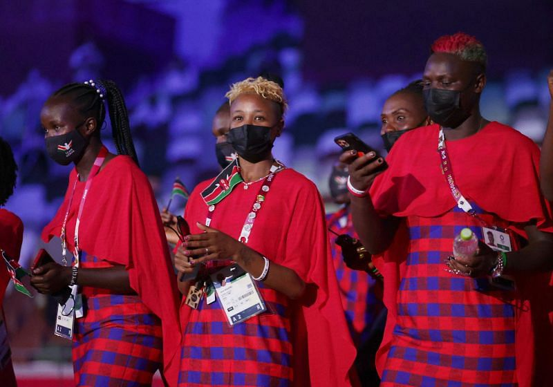 Jane Wairimu of Team Kenya looks on during the Opening Ceremony of the Tokyo 2020 Olympic Games at Olympic Stadium