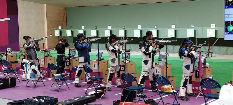 Indian rifle shooters at a practice session in Tokyo (Abhijit Deshmukh/Sportskeeda)