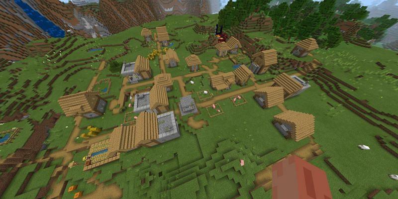 Village with four blacksmith house (Image via Minecraft)